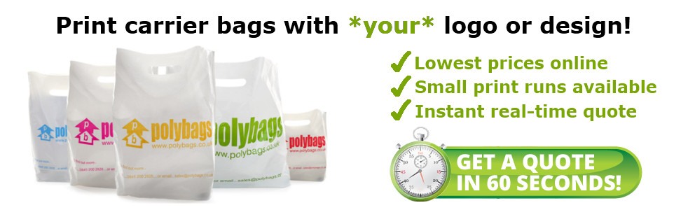Print carrier bags with your logo or design! Lowest prices online. Small print runs available. Instant real-time quote.