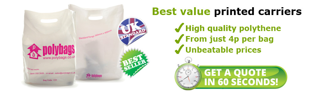 Best value printed carriers. High quality polythene. From just 4p per bag. Unbeatable prices.